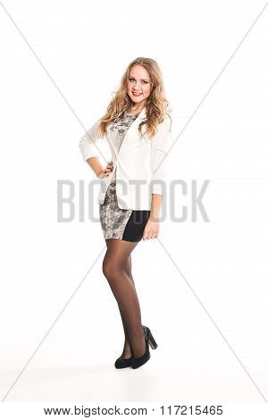 Beautiful young business woman blond