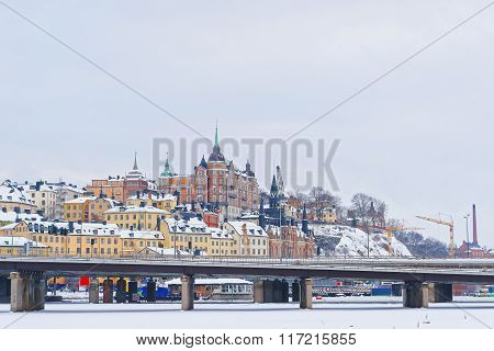 Northern Sodermalm and the bridge to Riddarholmen in winter Stockholm. Sodermalm is a city district area often referred to as a borough in central Stockholm Sweden.