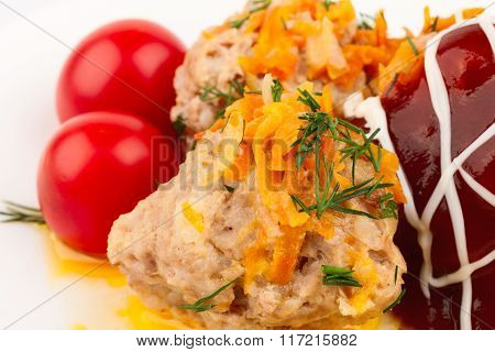 Meat Balls With Cherry Tomatoes