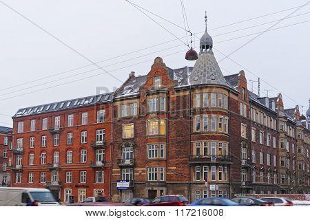 COPENHAGEN DENMARK - JANUARY 5 2011: Street View of Andersens Boulevard in winter Copenhagen