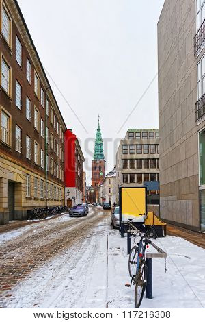 View On Former St Nicholas Church In Copenhagen In Winter