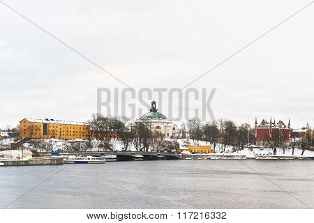 View To Waterfront And Winter Skeppsholmen Of Stockholm