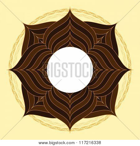 Symmetrical Circle. Guilloche Circle Shape. Vector Illustration.