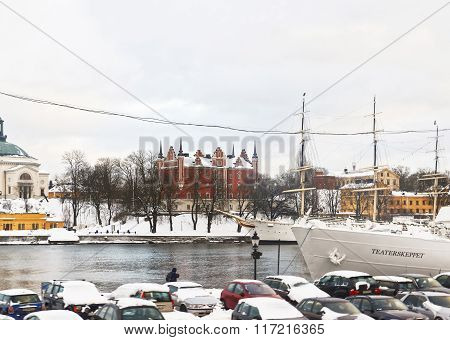 Waterfront And Winter Skeppsholmen Of Stockholm