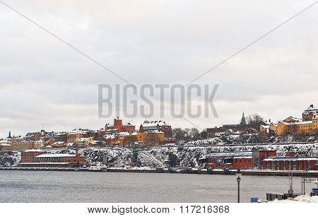 Waterfront In Winter Stockholm