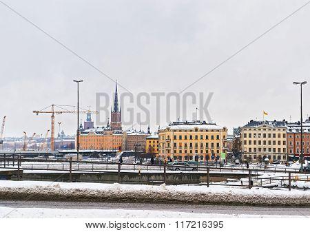 Winter Riddarholmen In Gamla Stan Of Stockholm