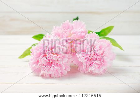 Pink pastel artificial carnation flowers