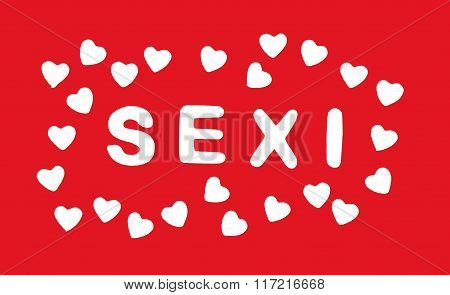 White Title Sexi With Hearts On The Red Background, Valentine's Day
