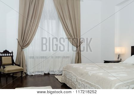 Spacy Luxury Modern Double Bedroom With Hard Wood Furniture.