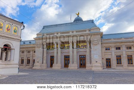 BUCHAREST, ROMANIA - DECEMBER 31: The Palace of the Patriarchate (Palatul Patriarhiei) on December 31, 2015. It is a building in Bucharest, Romania located on the plateau of Dealul Mitropoliei.