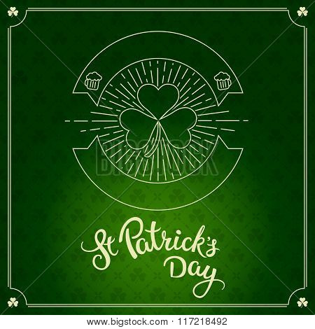 Label In Linear Style And Original Lettering St. Patricks Day