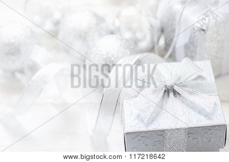 White And Gray Gift Box With Ribbon Bow