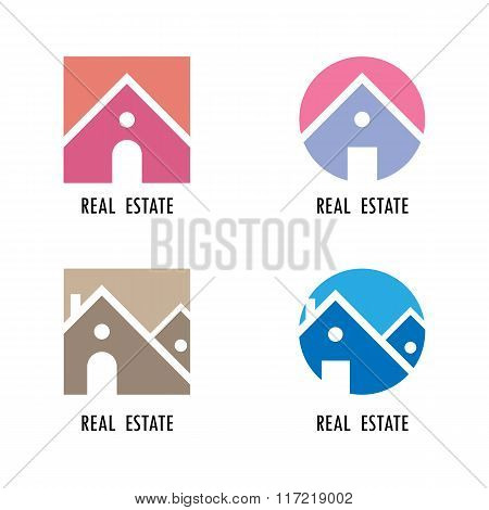 Real Estate Icons And Design Elements.colorful Real Estate, City And Skyline Icons.