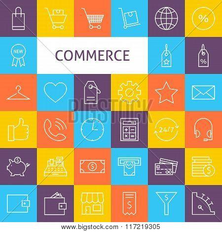 Vector Line Art Commerce Icons Set
