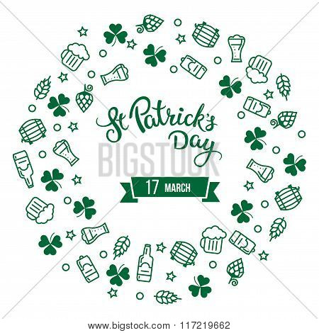 Clovers, Beer And Original Lettering St. Patricks Day