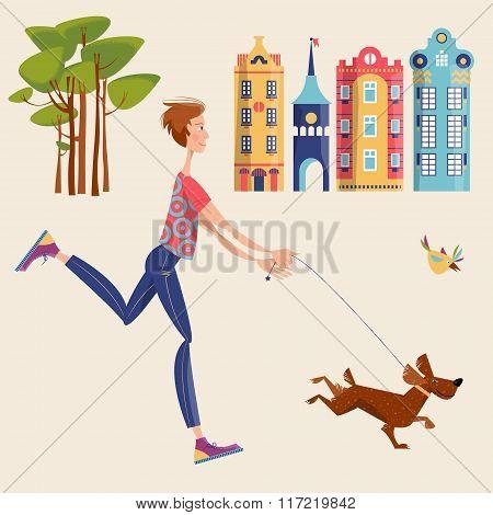 Man Walks A Dog In A City. Urban Landscape.