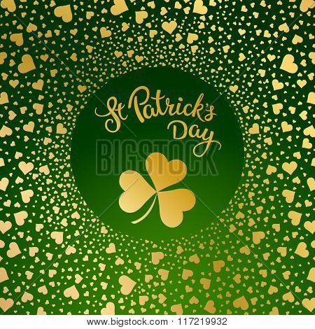 Hearts, Clovers And Original Lettering St. Patricks Day