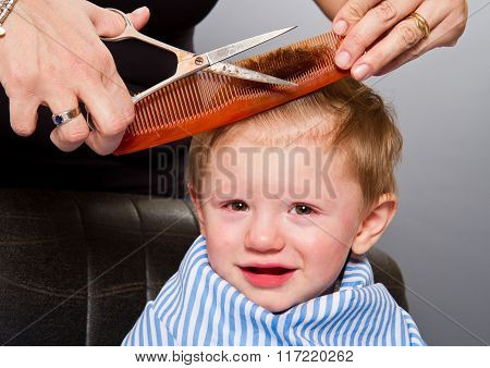 Close up portrait of child getting a haircut