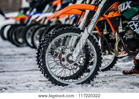 riders and wheels of motorcycles on starting line