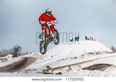 high jump and flight of motorcycle racer