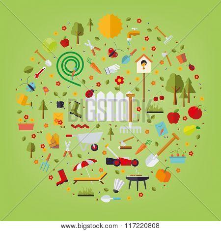 World of Gardening. Vector concept illustration of garden and gardening