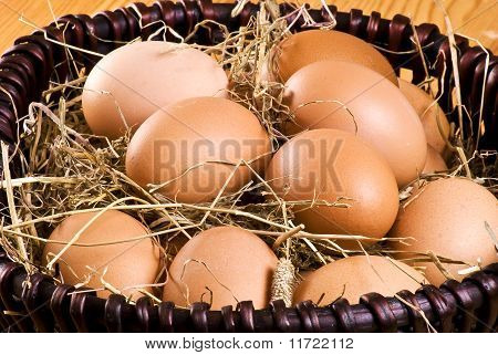 Fresh Eggs In The Basket
