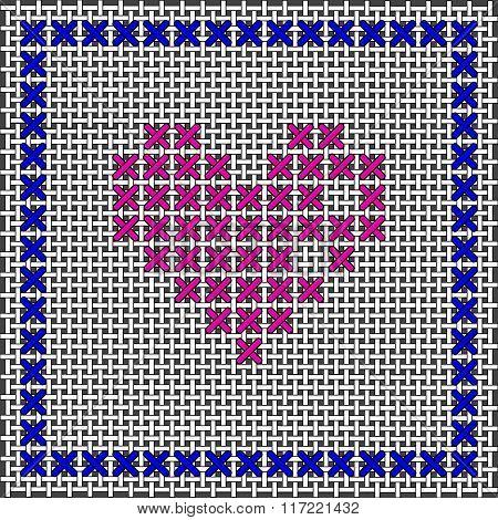 Heart Shape. Cross-stitch, Embroidery. Canvas