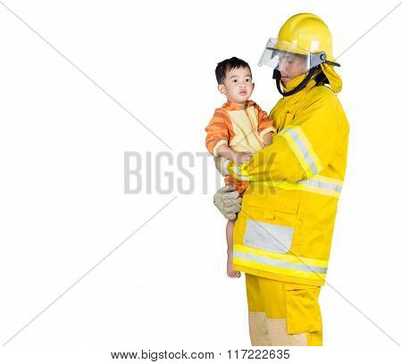 Firefighter Holding A Boy Isolated And Include Path