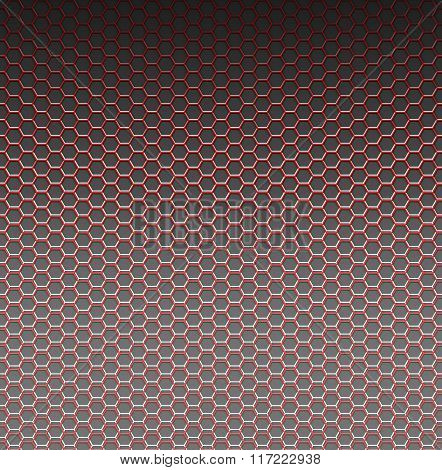 Red pattern with hexagons