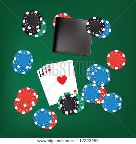Four aces, black wallet, and poker chips