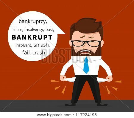 Sad business man crying because of bankruptcy