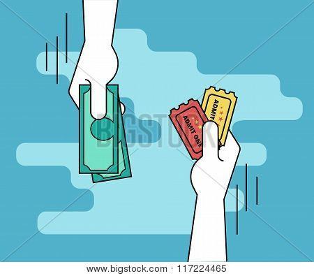 Buying tickets flat line contour illustration of human hand  withdraws cash