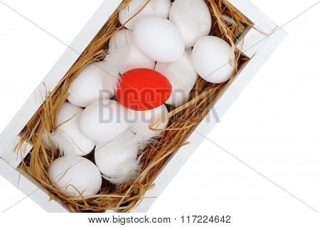 Easter Eggs In A Box. Isolated On White Background.
