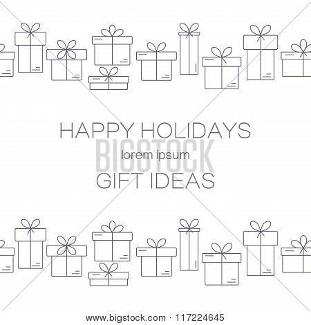 Vector banners with thin line icons of gift boxes.