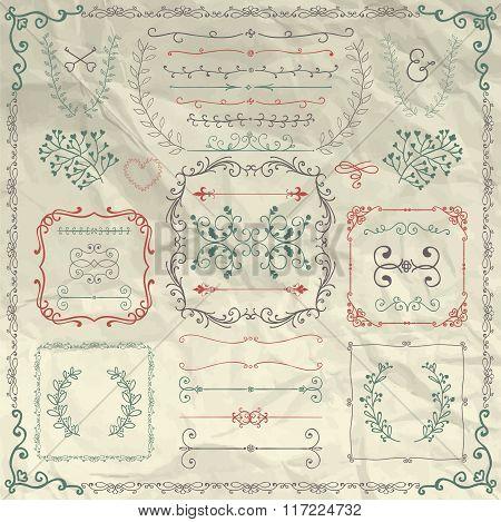 Rustic Decorative Design Elements on Crumpled Paper
