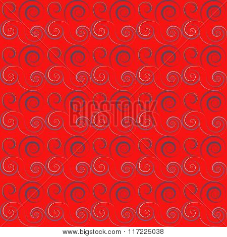 Seamless floral spiral pattern. Twirl lines. Twist abstract ornament on bright background. Red, blue