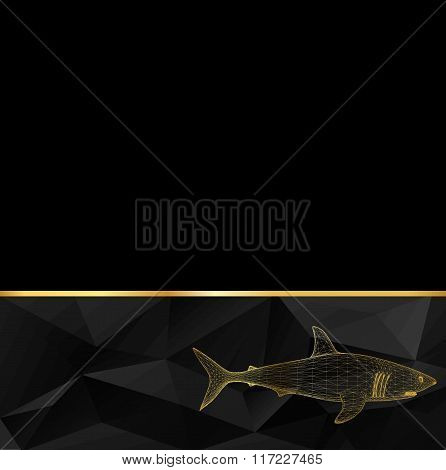 Vector illustration shark. The structural grid of polygons. Abstract Creative concept vector backgro