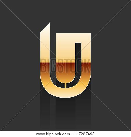 Vector Gold Letter U Shape Logo Element