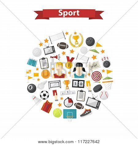 Vector sports icons in circle