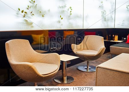 PRAGUE, CZECH REPUBLIC - AUGUST 18, 2015: MasterCard Lounge Prague interior. International airport of Prague is major airport of Czech Republic
