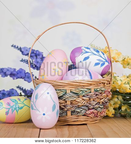 Easter Basket And Colorful Eggs
