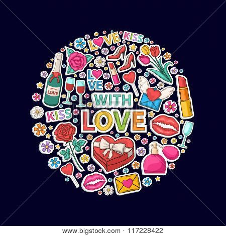 With love sticker clip mart in circle