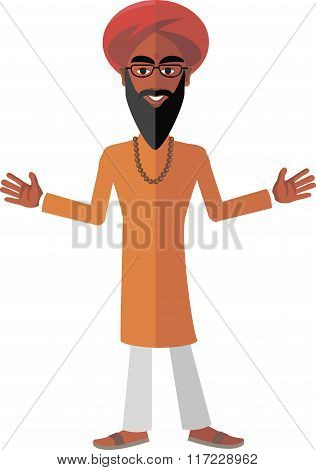 smiling Indian in a turban orange clothes