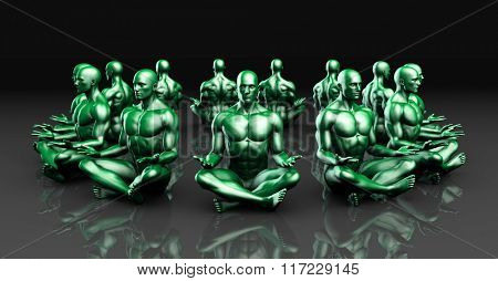 Illustration of a Male Figure Meditating in 3d