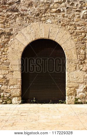 Arch Door In The Romanesque Monastery Of Sant Cugat