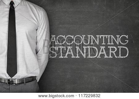 Accounting standard text on blackboard