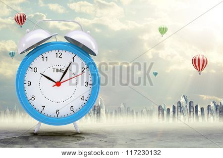 Blue alarm clock on abstract background
