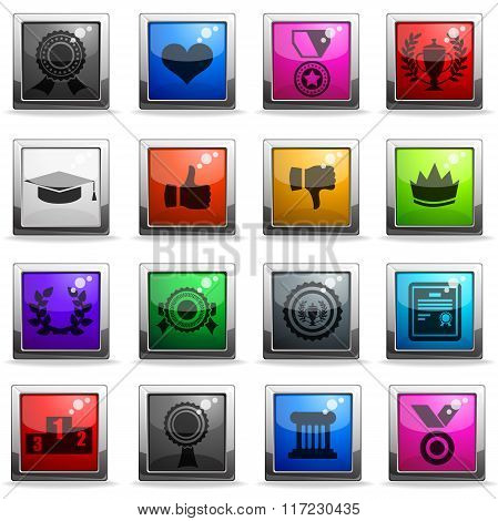 Trophy and prize icon set
