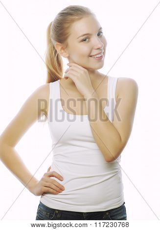 smiling woman in blank white t-shirt isolated on white