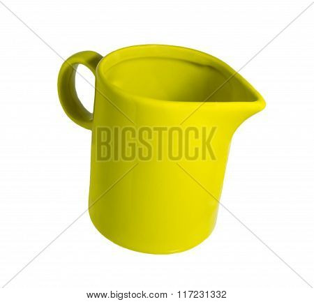 Ceramic mug with a spout for milk green